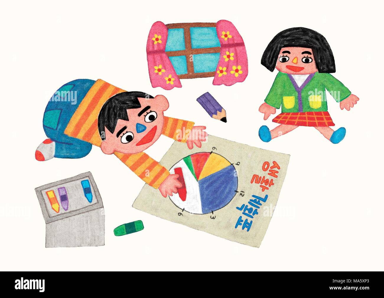 Vector illustration -  daily life of children during the winter vacation. 001 - Stock Vector