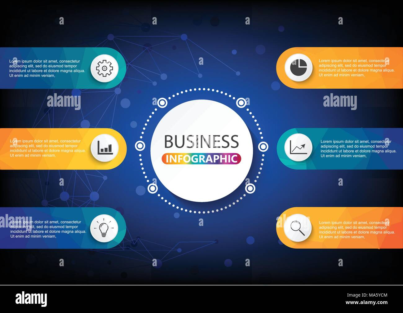 Business data visualization. Process chart. Abstract elements of graph, diagram with steps, options, parts or processes. Vector business template for  - Stock Image