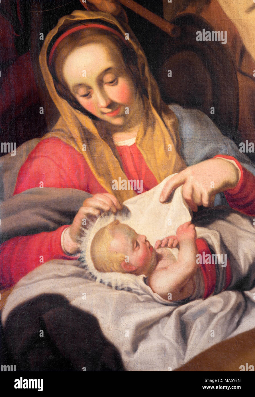 ANTWERP, BELGIUM - SEPTEMBER 5, 2013: The detail of with the child Madonna by unknown painter in Saint Pauls church (Paulskerk). Stock Photo