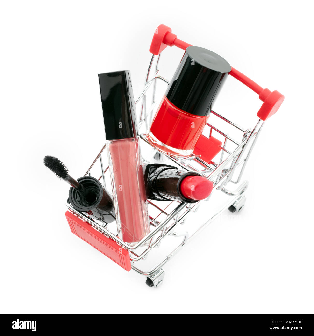 f27589562d0 Makeup in pushcart isolated on white background. Red lipstick, mascara,  pink lip gloss, powder, nail polish. Makeup products in shopping cart,  discoun