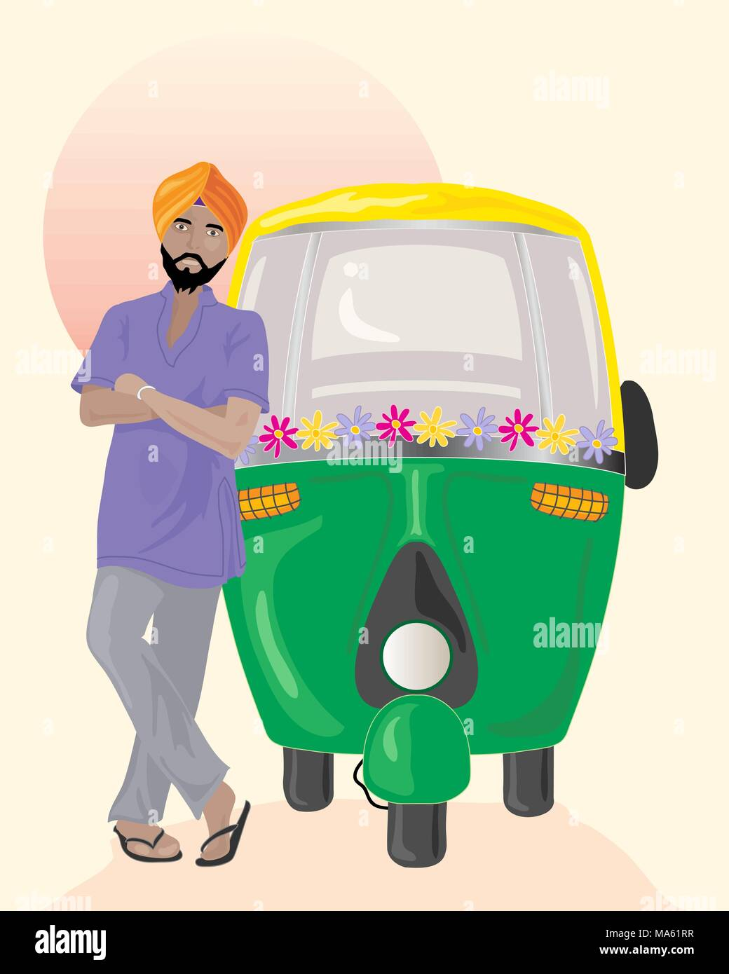 a vector illustration in eps 10 format of a Sikh taxi driver with orange turban standing next to a decorated auto rickshaw under an Indian sun - Stock Vector