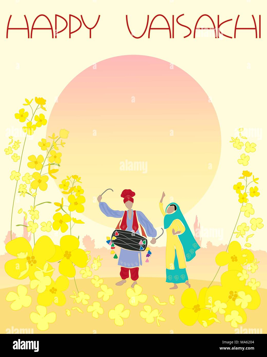 a vector illustration in eps 10 format of a happy Vaisakhi greeting card with mustard flowers and Punjabi dancers under a setting sun - Stock Vector