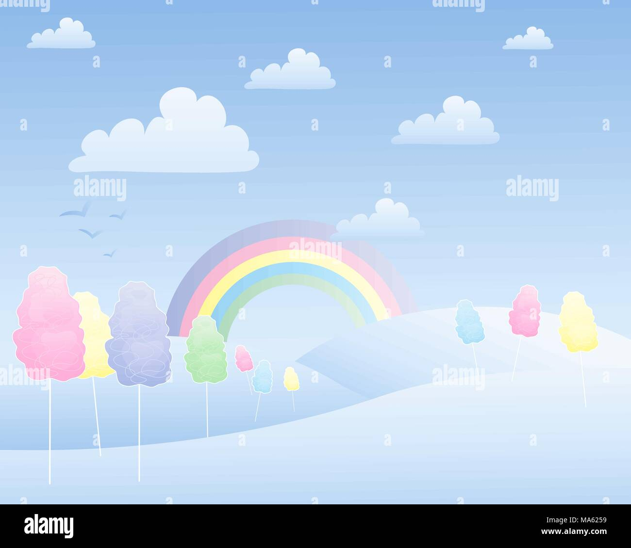 a vector illustration in eps 10 format of a fantasy cotton candy landscape with a rainbow hills and fluffy white clouds - Stock Image