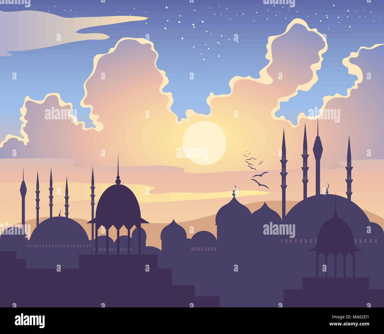 a vector illustration in eps 10 format of an Islamic skyline at sunset with Asian architecture mosques domes and minarets under a colorful starry sky - Stock Vector