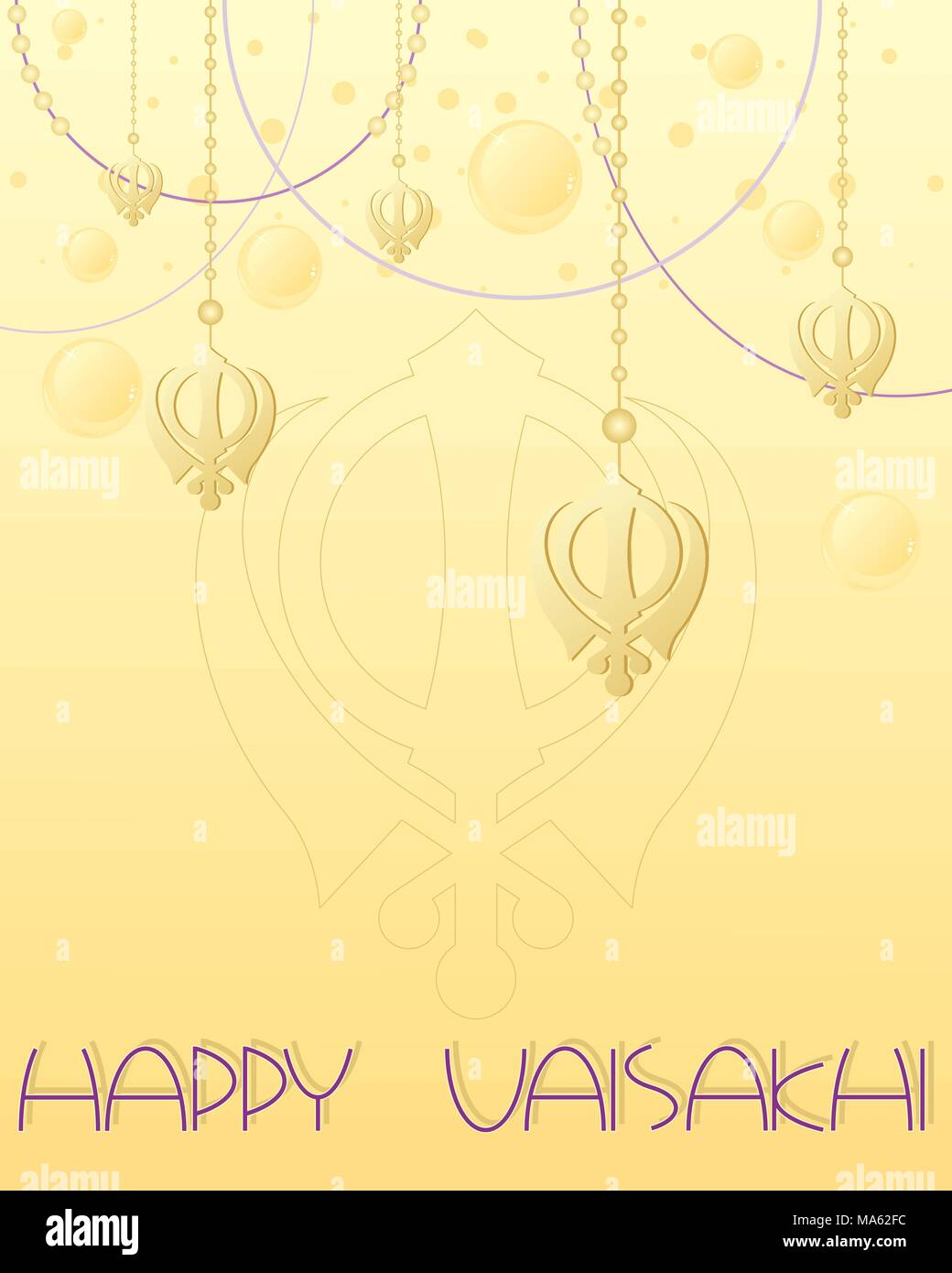 a vector illustration in eps 10 format of a happy Vaisakhi greeting card design with golden Sikh symbol on decorative thread on a gold background - Stock Vector