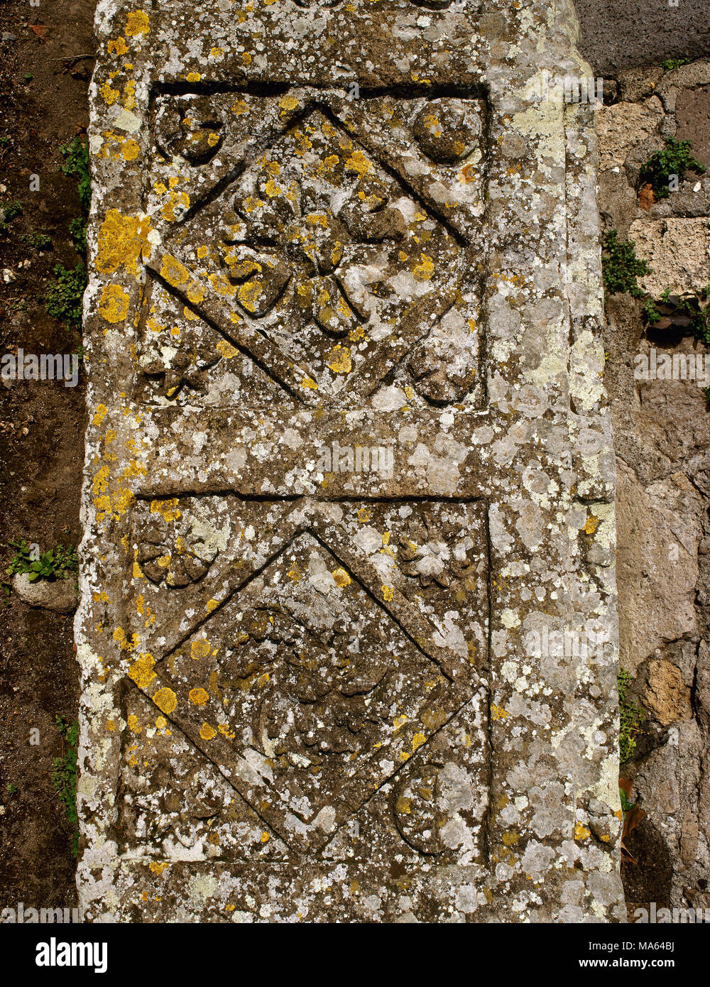 Pompeii. Marble relief decorated with vegetal and geometrical motifs. Street of Tombs. Campania, Italy. - Stock Image
