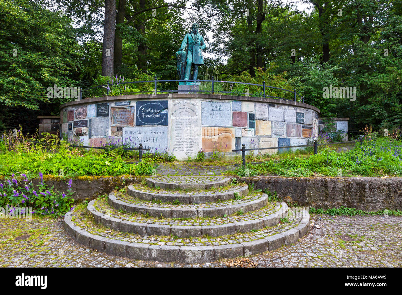 Monument of Friedrich Ludwig Jahn, German gymnastics educator. Known as Turnvater Jahn (meaning 'Father of Gymnastics' Jahn) - Stock Image