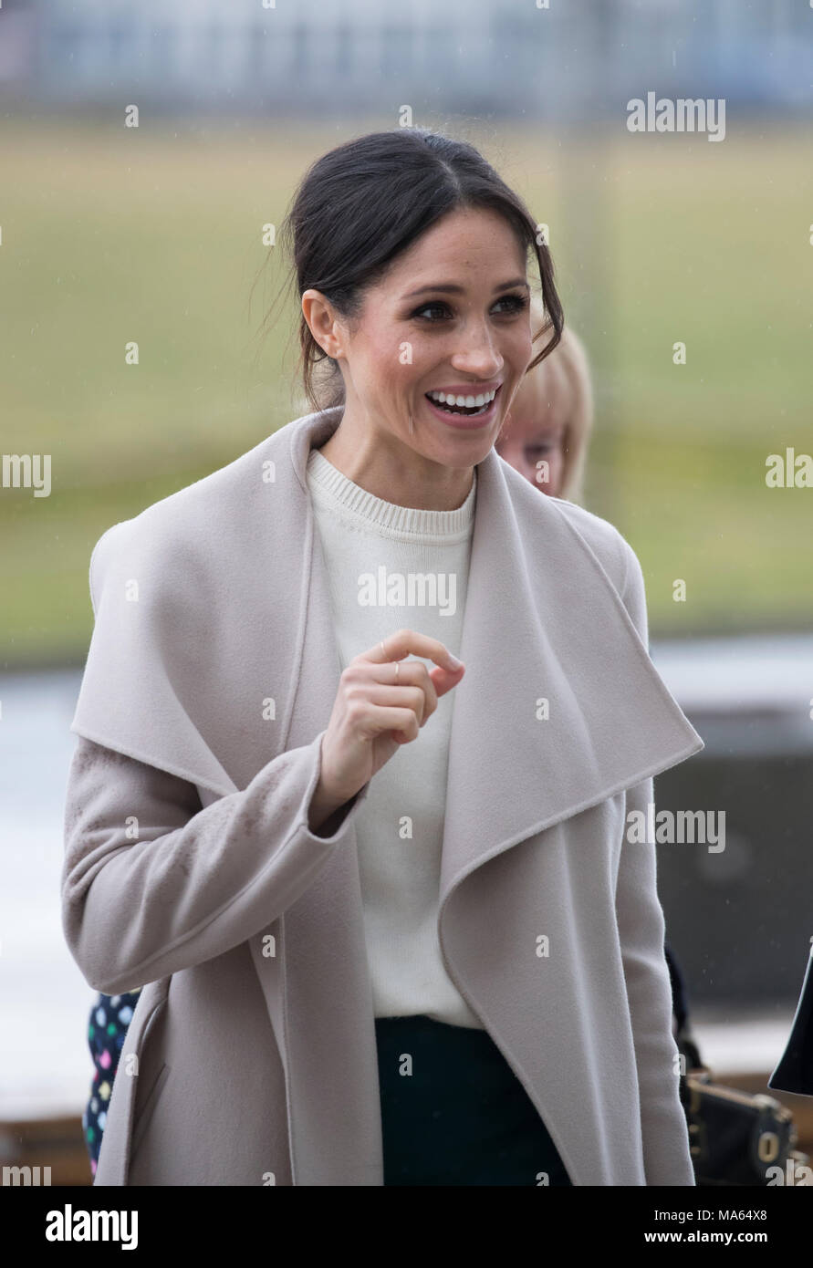 23rd March 2018 Belfast UK Britain's Prince Harry and his fiancee Meghan Markle on a visit to Belfast where they visited The Crown Liquor Saloon. - Stock Image