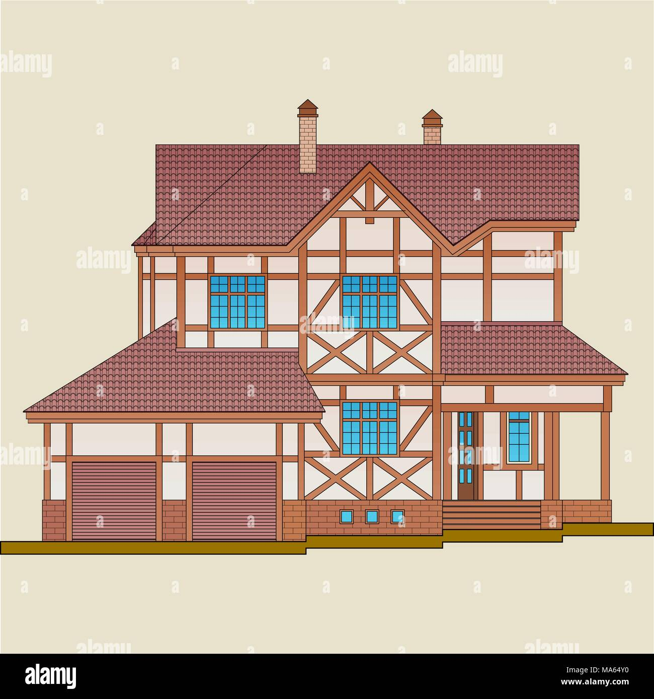 The house is built of natural wood and plastered brick.  'Post-and-beam' construction, as a style of architecture of an apartment house. - Stock Vector