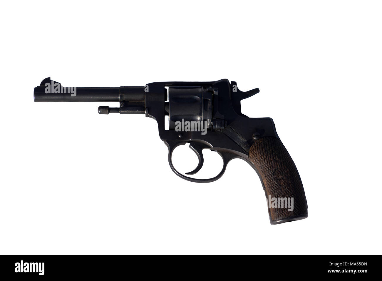 close the revolver leaning against a white background. Isolate clipping path available . - Stock Image
