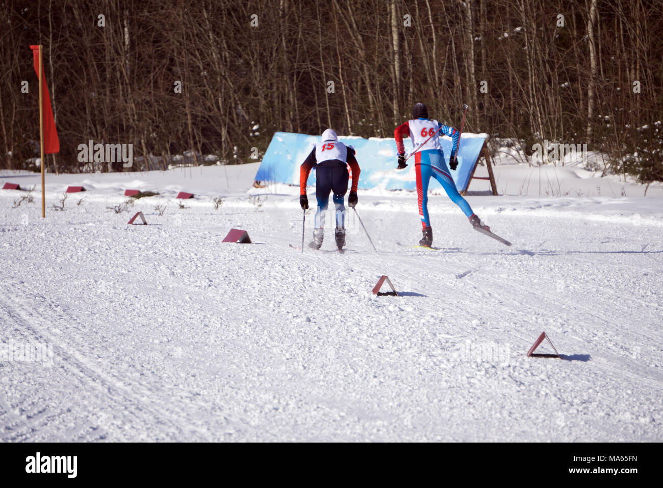 Participants of traditional mass skiing competitions finish - Stock Image