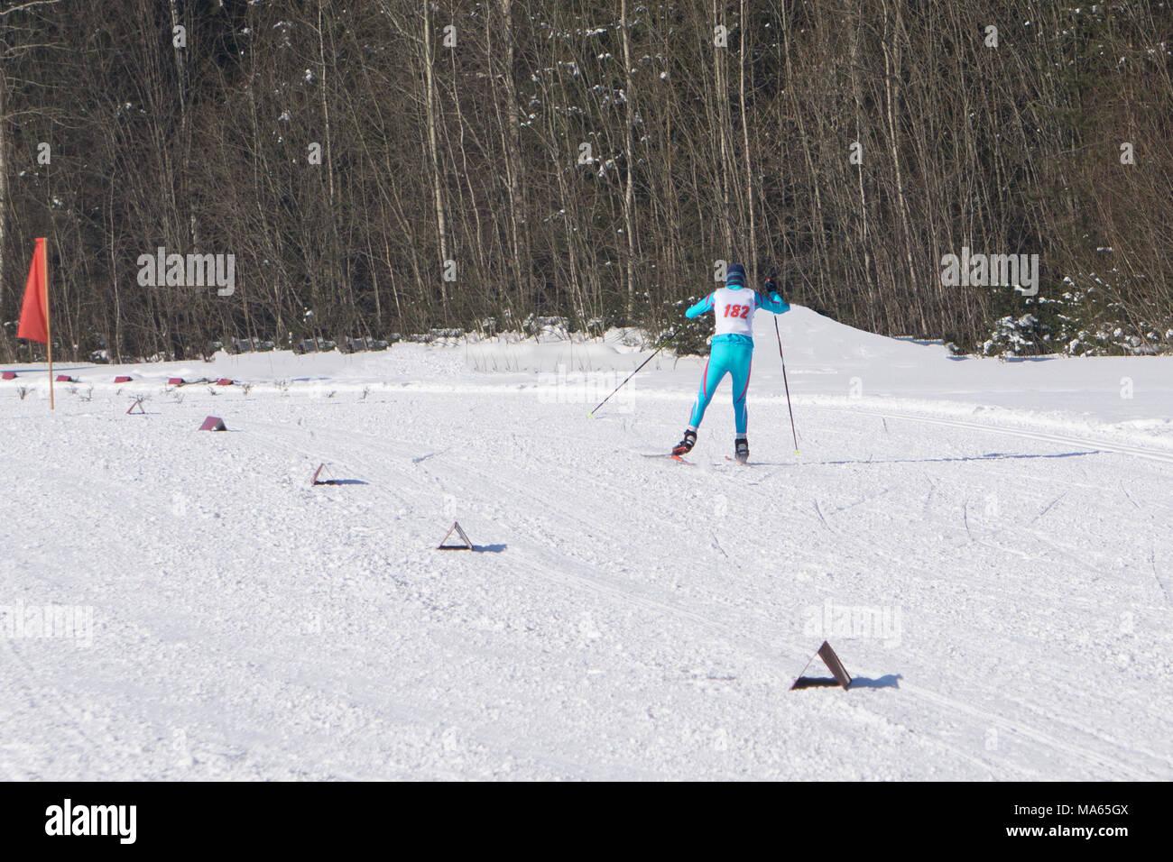 ski marathon and skiing long distances . Stock Photo