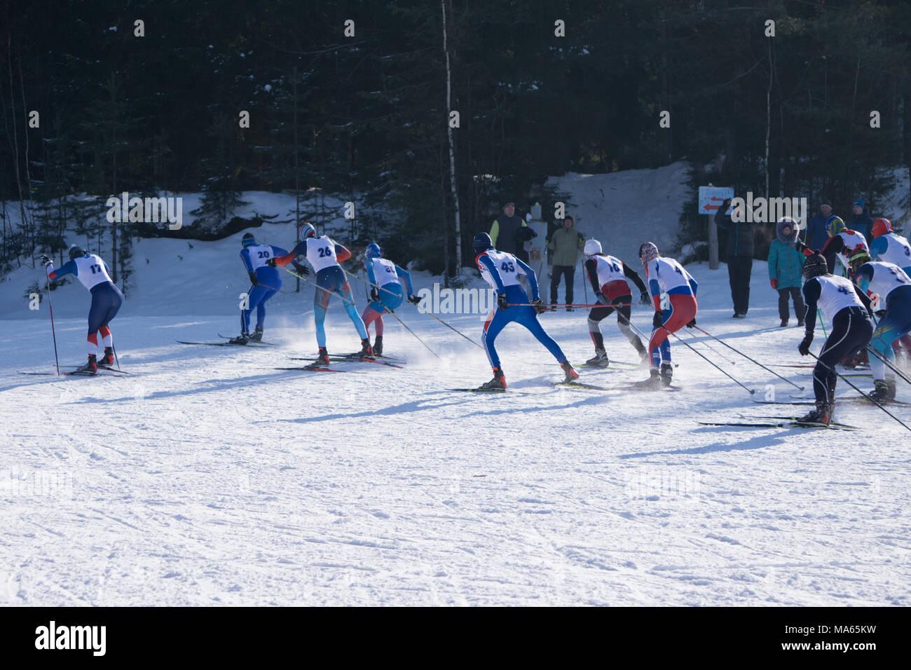 Championship ski marathon in where men skiing at a distance of 70 kilometers - Stock Image