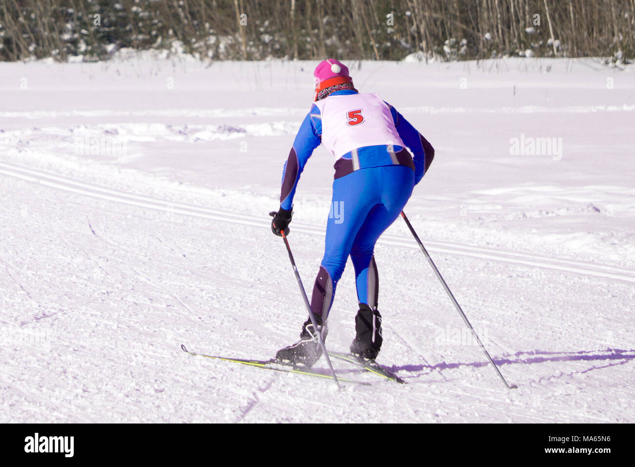 Competitions in skiing people Ski marathon - Stock Image