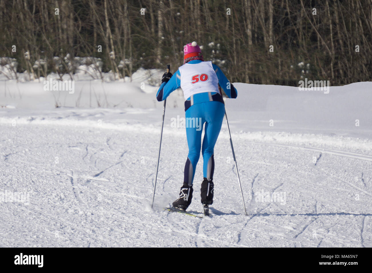 large Competitions in skiing runs, the Ski marathon runner - Stock Image