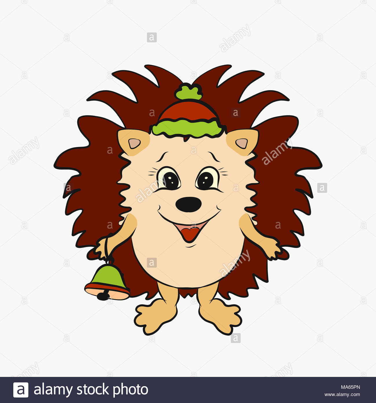 Funny Christmas hedgehog with a bell - Stock Image