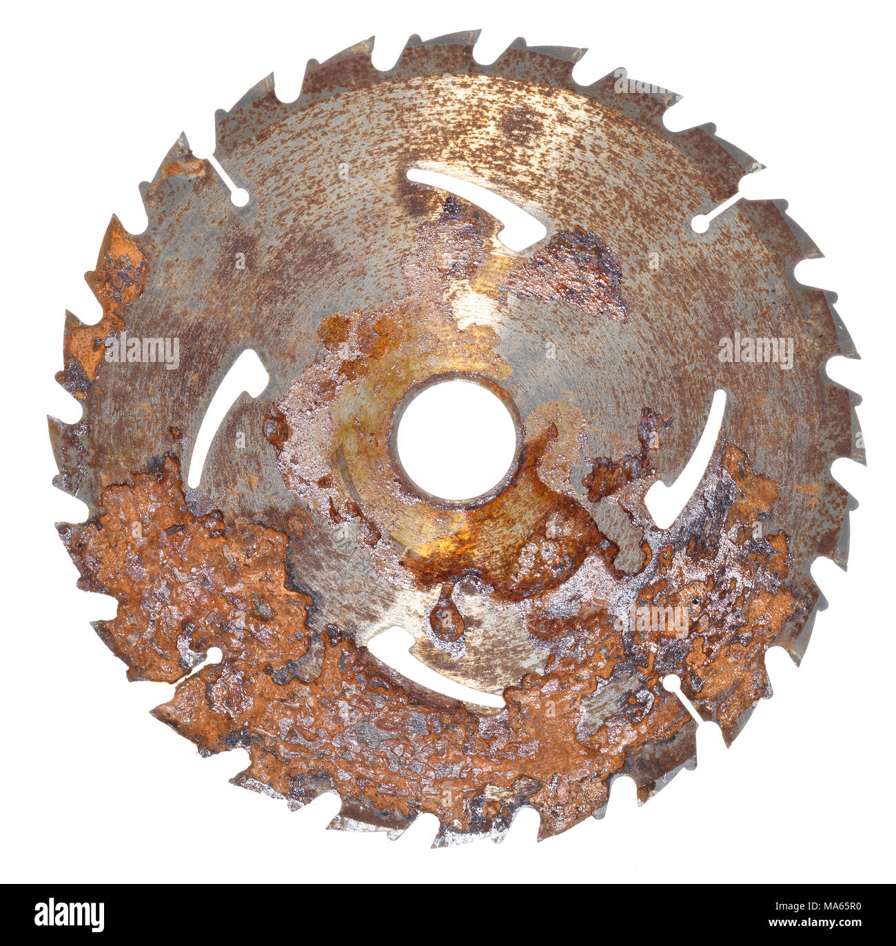Circular saw. Discarded and rusted saw blade. - Stock Image