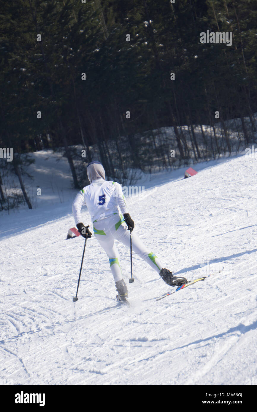 Skier skiing downhill in high mountains - Stock Image