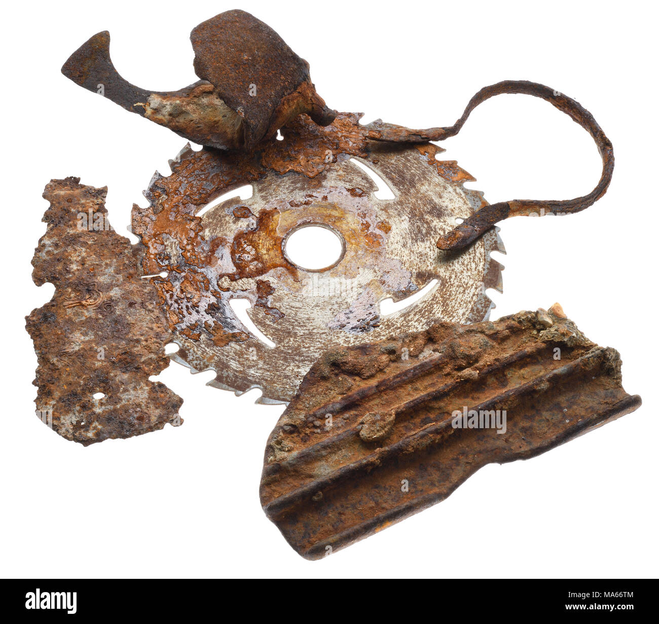 An arrangement of rusted pieces of metal to form a composition. - Stock Image