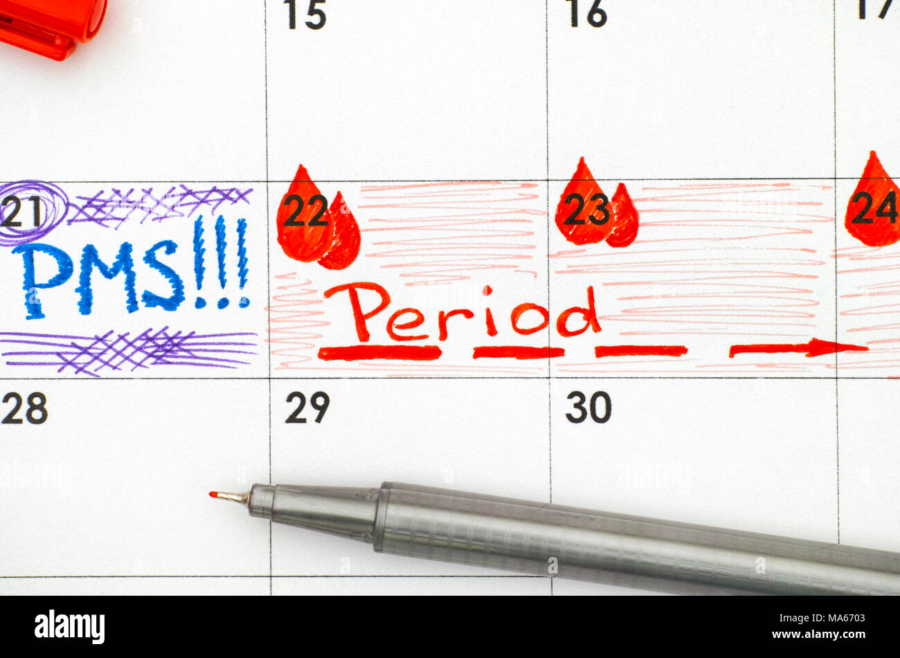 Reminder PMS and Period in calendar with red pen. Closeup. Stock Photo