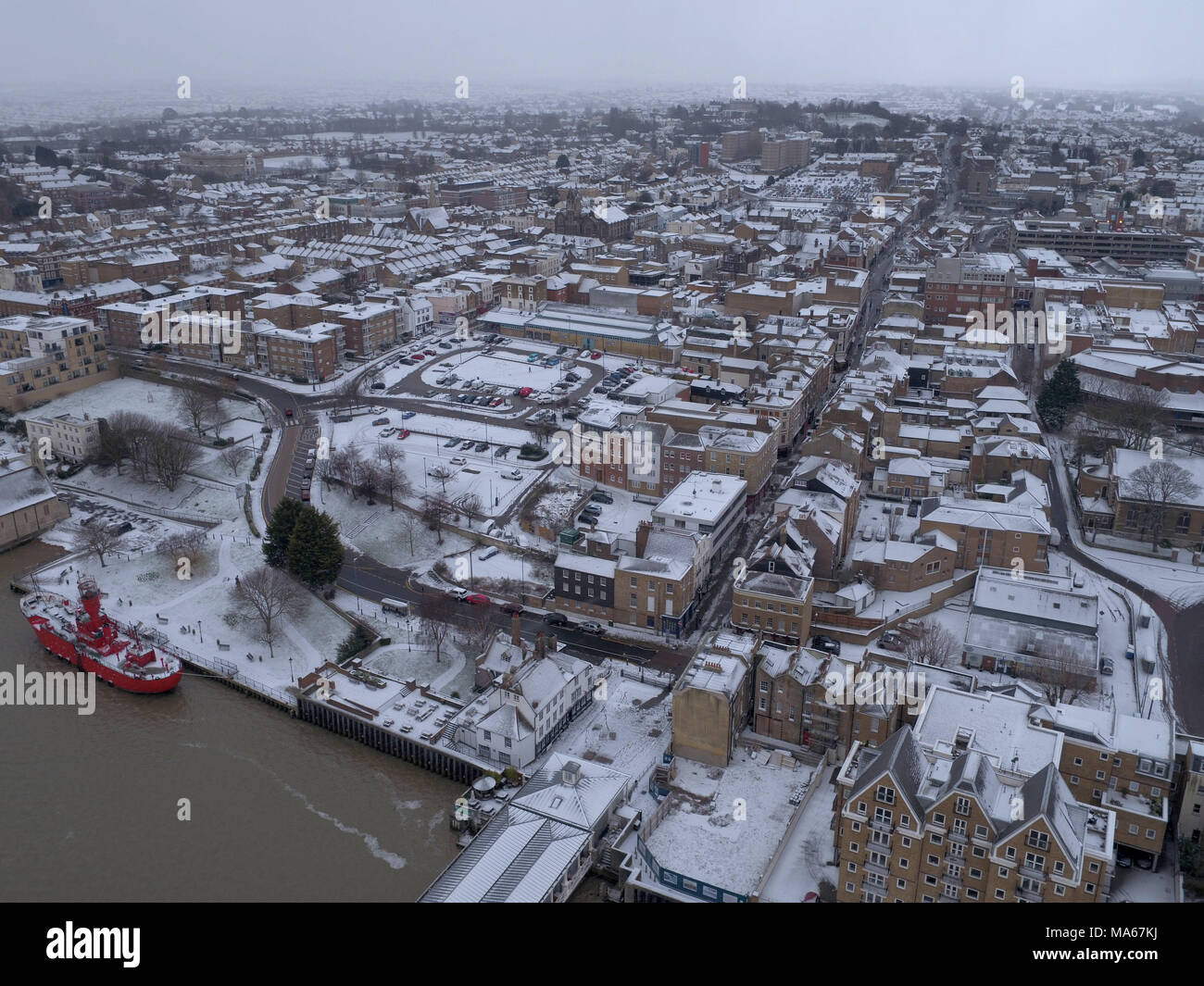 Aerial Images Taken By Drone Show The Snow Covering Landscape At Gravesend Kent Three People Have Reportedly Died And Many Others Been Involved