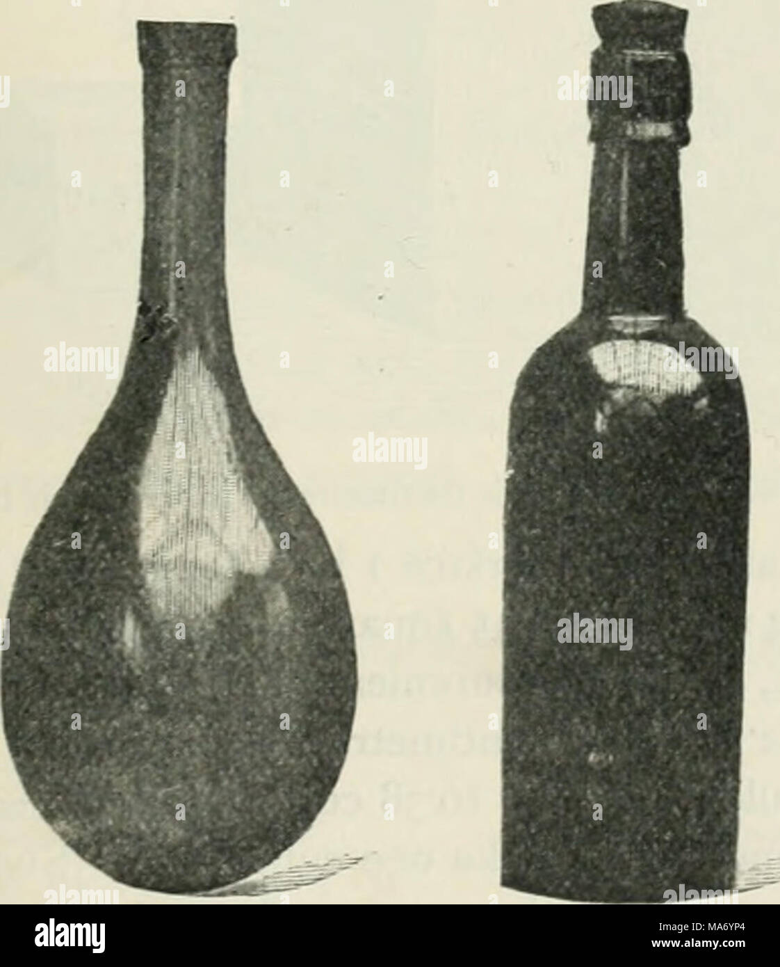. Elementary physics and chemistry: first stage . Litre. Pint. Fig. 17.—A litre bottle will hold ij pints. These two bottles look nearly the same size, but the glass of the litre bottle is much thinner than that of the pint bottle. cubic centimetres of liquid. This capacity is called a litre. All liquids are measured in litres in countries where the metric system is adopted. Thus in France, wine, milk, and such liquids are sold by litres instead of by pints. A litre is equal to about one and three-quarters English pints. A litre bottle and a pint bottle are shown side by side in Fig. 17. - Stock Image