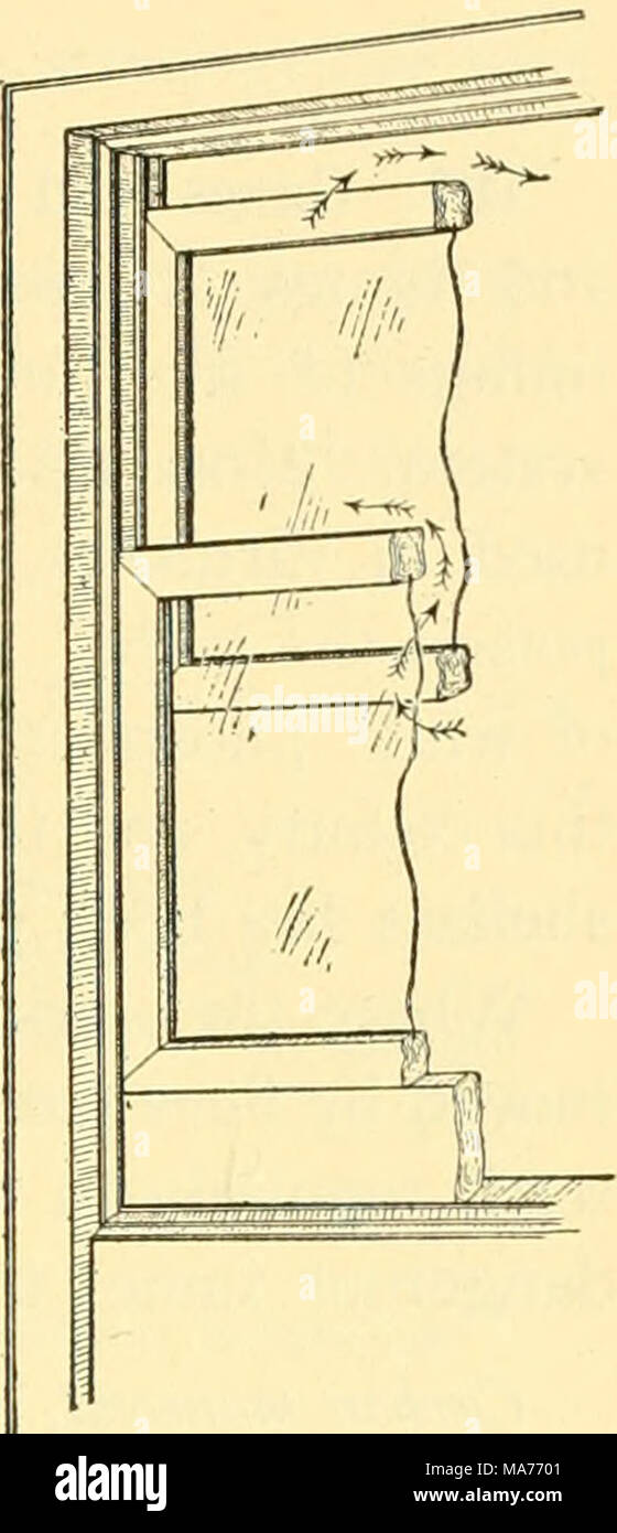 . Elementary biology; an introduction to the science of life . Fig. 52. Window venti- lation in cold weather A board placed edgewise under the lower sash pre- vents drafts. The upper sash is pulled down a few inches, permitting fresh air to come in between the panes and permitting warm expired air to pass out, as shown by the arrows Experts are not agreed as to which is better, and it is probable that neither is altogether superior to the other. Which- ever system is used, it can be combined with a plan to filter the dust from the air that comes into the rooms, with a device for adding suitabl - Stock Image
