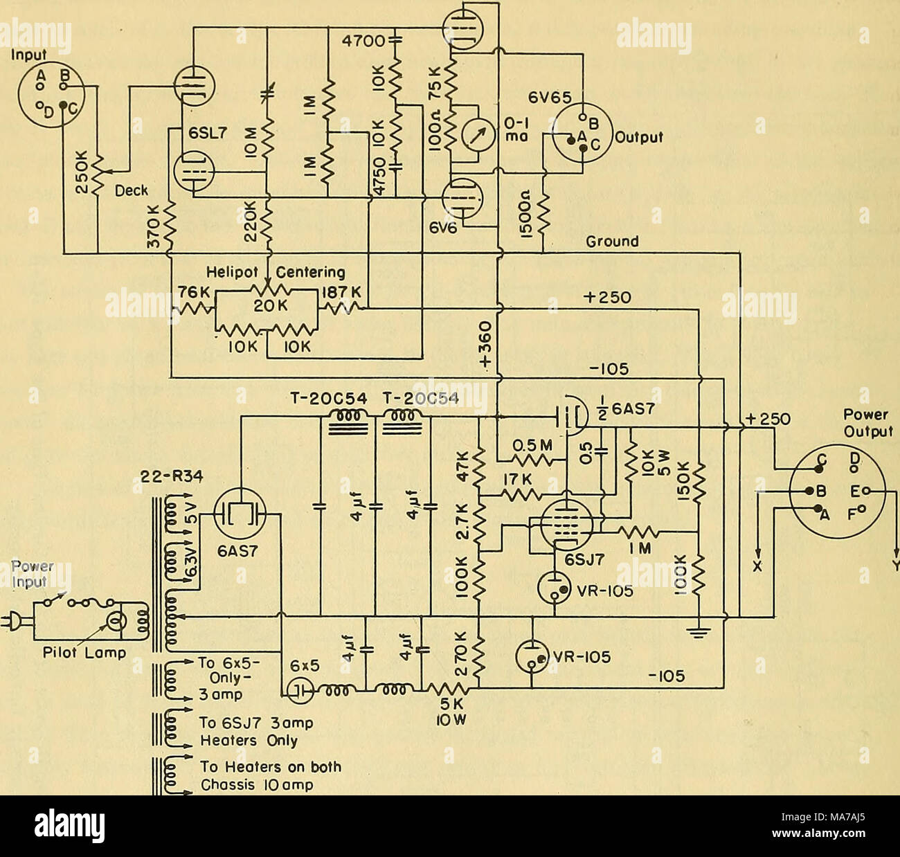 75 K 5 Wiring Diagram Great Installation Of Half Switched Schematic An Electronic Wave Height Measureing Apparatus To 6sj7 3amp Rh Alamy Com Basic Electrical Diagrams Residential