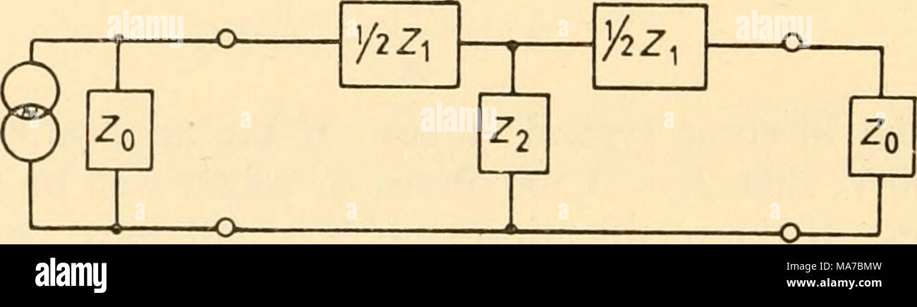 . Electronic apparatus for biological research . Figure 5.13 The requirement for matching conditions to be fulfilled is that on removing one of the terminating impedances Zq and looking into the filter, we see an impedance Zq, that is â ^21 2 ' 0 Z2 + 2 I â¢^o whence If Zi and Z2 are pure reactances, and the bracketed term is positive, Zq is pure resistive, for both the product and the ratio ofy terms are real numbers. L/2 t L/2 Zo Figure 5.14 Low-pass filter Value of elementsâIf the filter is to be low-pass we make Z^ an inductance L and Z^ a capacitance C {Figure 5.14). Then jojL Z 2 â ^0 = - Stock Image
