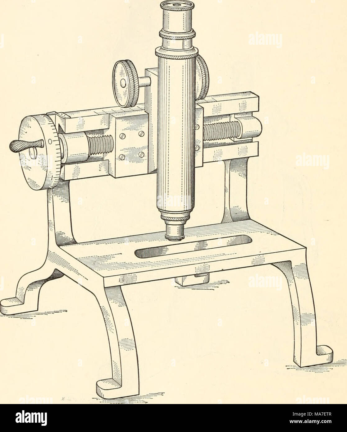 . Elementary chemical microscopy . Fig. 113. Beck Micrometer Microscope. of one division on the scale of the stage S2. The object to be studied is placed upon the section S 1 of the stage and clamped in place, the stage S having been first moved by hand by the knob K to the most convenient place for beginning the measurements. - Stock Image