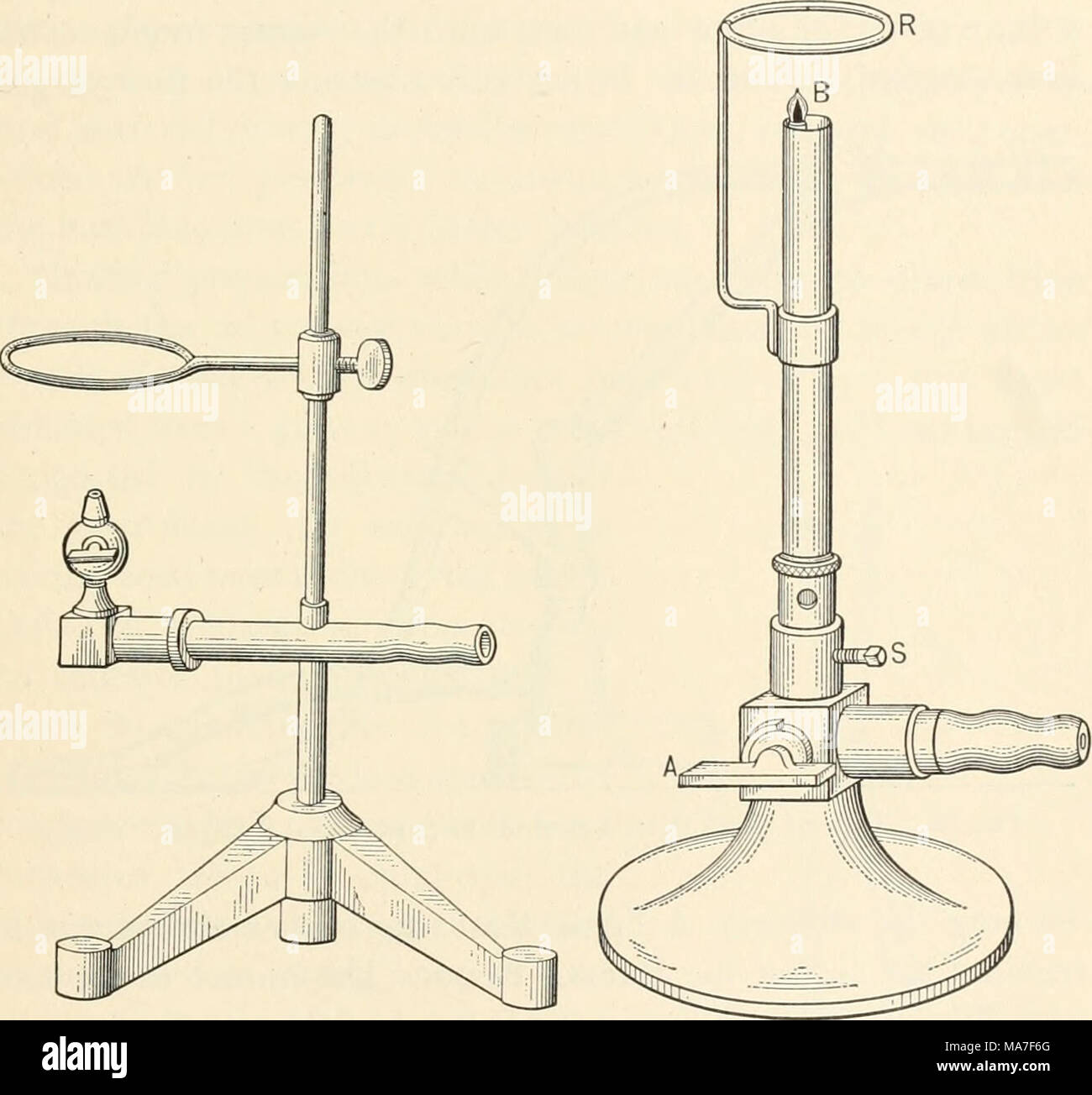 """. Elementary chemical microscopy . Fig. 86. Burner for Microchemical Analysis. Fig. 87. Burner for Microchemical Analysis. (Xi) only moderate heating of very small amounts of material. Since, however, microchemical methods often require a preliminary handling of several grams or cubic centimeters of substance, the burner shown in Fig. 87 will be found to afford a wider range of usefulness. It also occupies less space upon the work table. It consists of an ordinary Bunsen burner provided with a side- tube for a """" reserve """" or """" pilot """" flame. In the form illustrated, - Stock Image"""