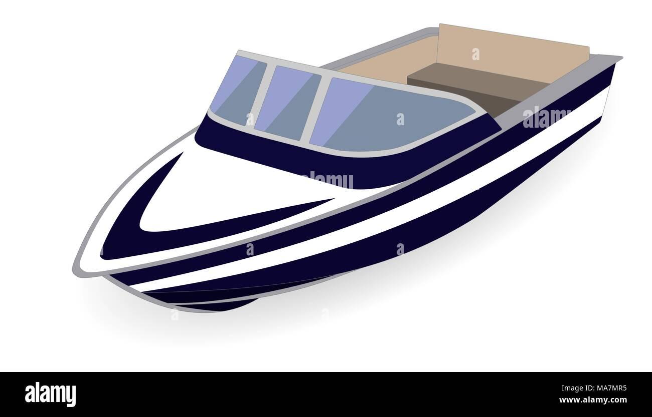 Cartoon motor boat isolated on white, vector illustration - Stock Image