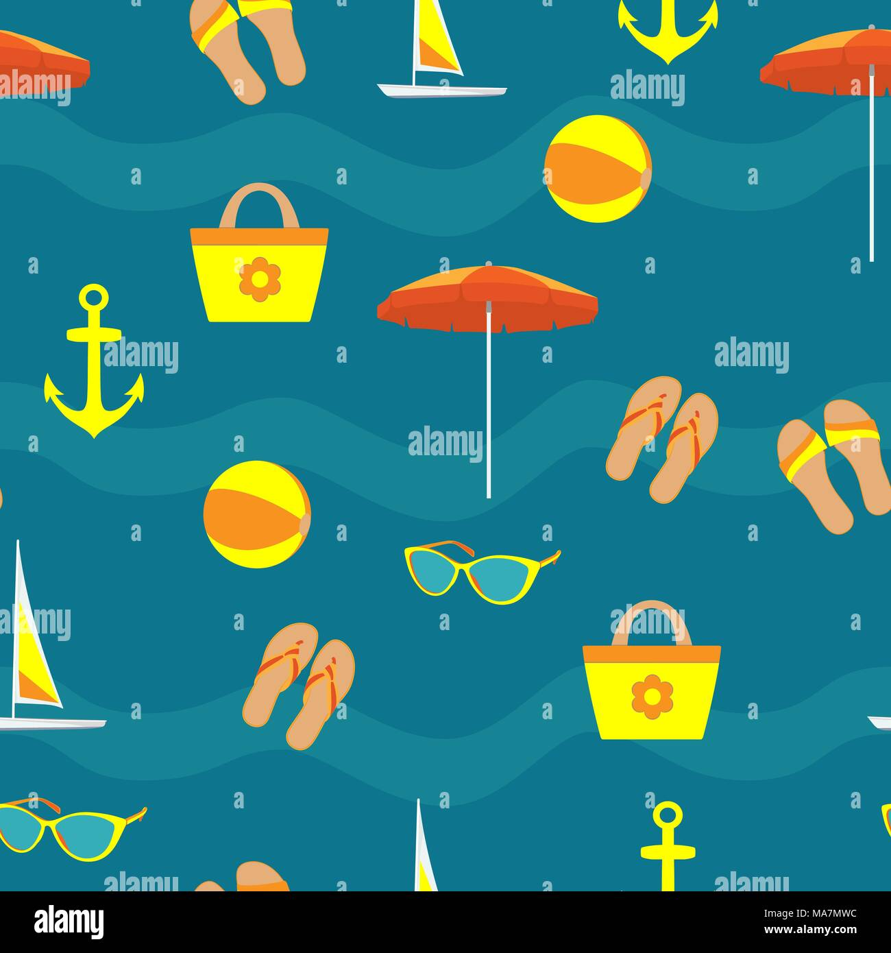Summer vacation accessories in flat style on blue background, seamless pattern. Slippers, sun glasses, sun umbrella, inflatable ball, beach bag, ancho - Stock Vector