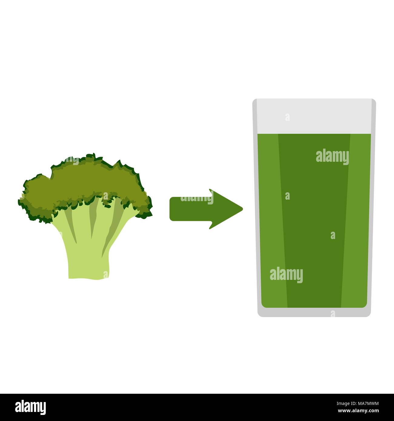 Fresh broccoli and a glass of broccoli juice around. The arrow in the direction from the broccoli to juice. Vector illustration in flat style, isolate Stock Vector