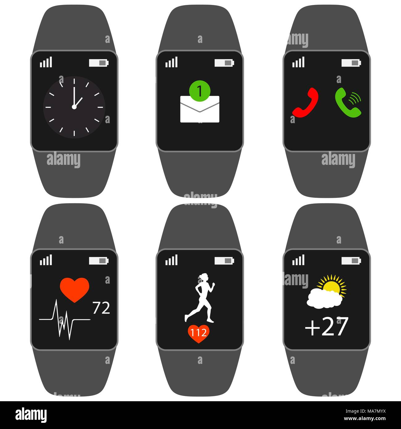 Collection smart watch with icons on the display heart rate