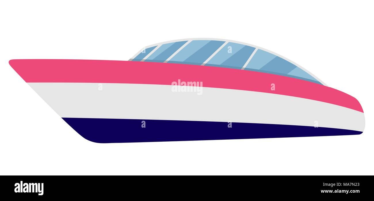Cartoon motor boat isolated on white, vector illustration. - Stock Image