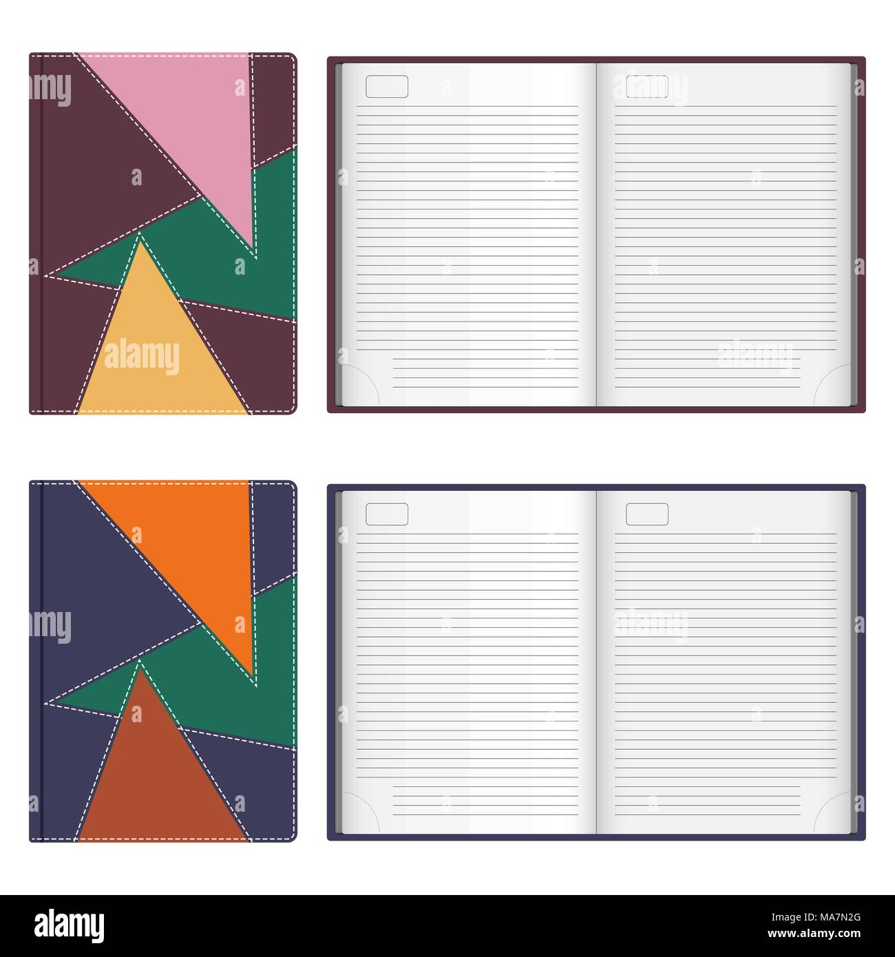 Collection of stylish leather diaries covers, stitched with white thread, open and closed. Vector illustration in flat style, isolated on white backgr - Stock Image