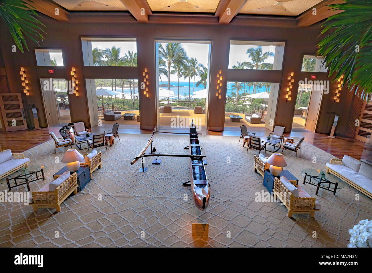 A 2017 view from the upper lobby of the newly renovated Four Seasons Resort Lanai at Manele Bay, Lanai, Hawaii. - Stock Image