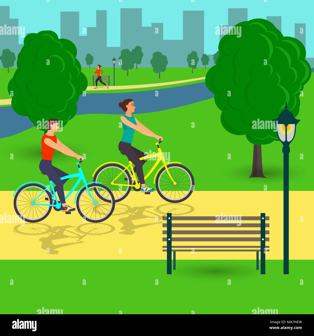 Man and woman on bicycles in the park. Flat vector illustration - Stock Vector