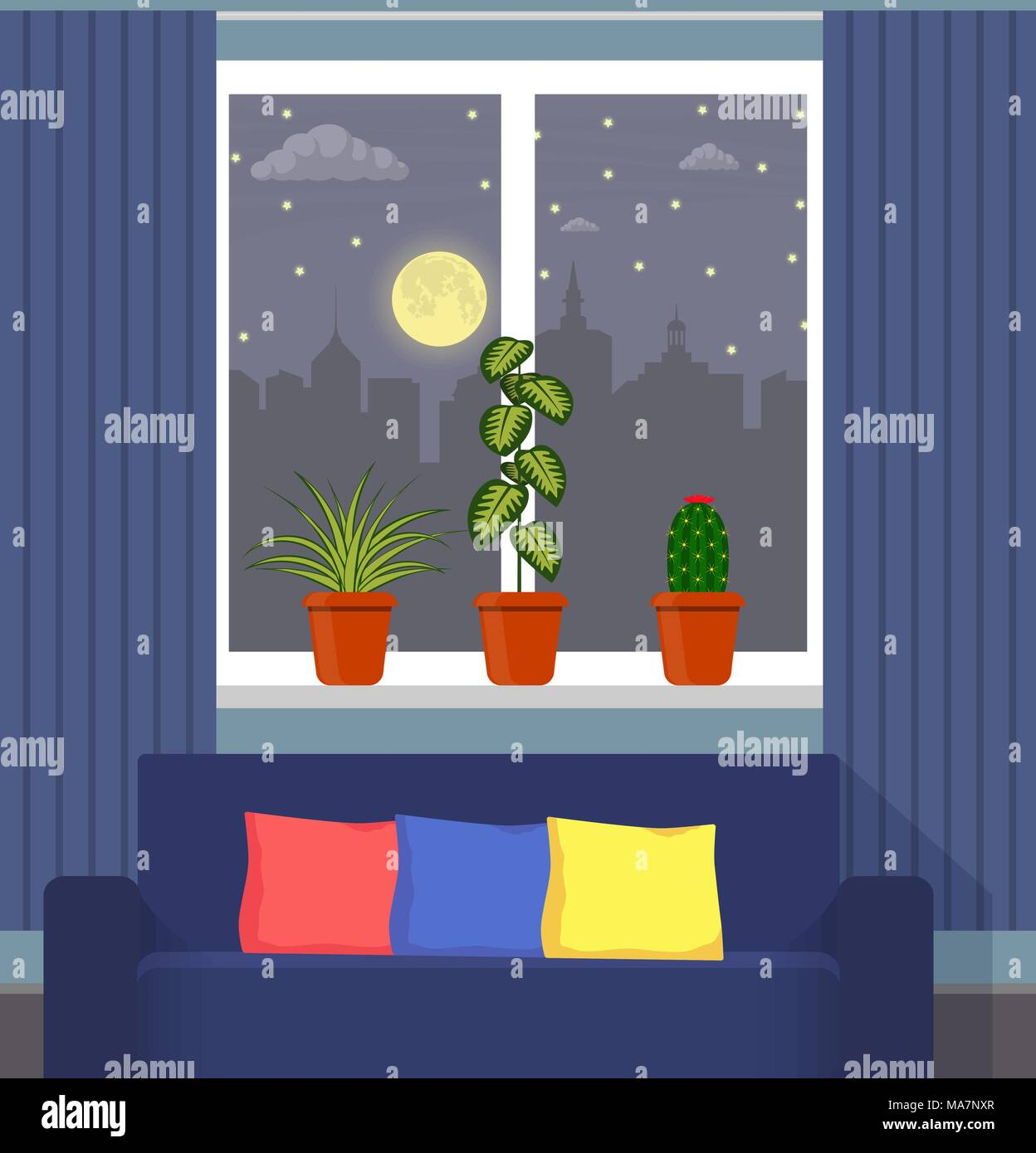 Perfect Big Window With Curtain And Plants In Pots On The Windowsill. Night City,  Moon, Clouds And Stars Outside The Window. The Couch In The Foreground. Vect