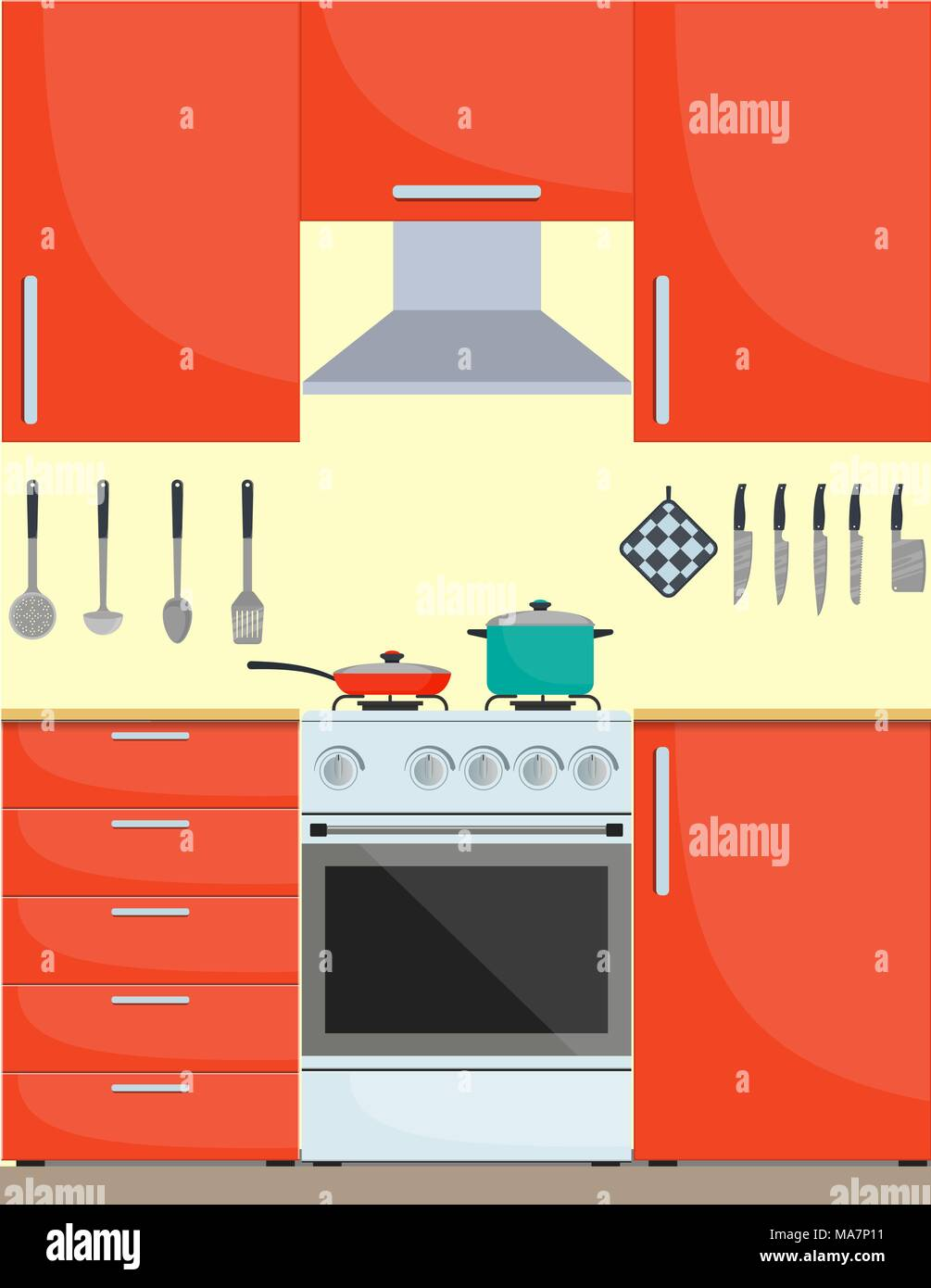 Modern Stylish Kitchen Interior. Kitchen Utensils And Appliances,  Furniture, Gas Stove. Pan And Frying Pan On The Stove. Vector Illustration  In Flat S