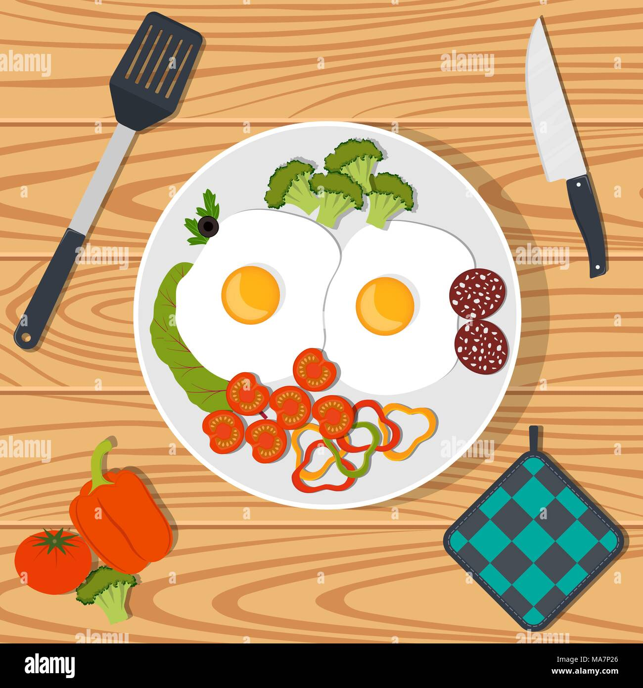 Traditional Breakfast Scrambled Eggs With Vegetables And Sausage On White Plate Vector Illustration In Flat Style Stock Vector Image Art Alamy