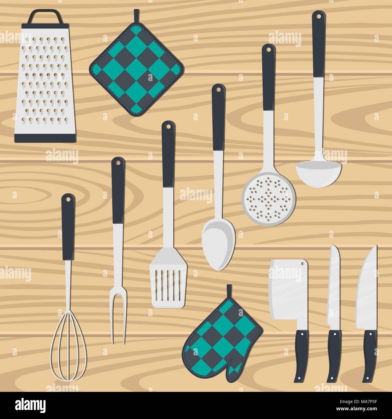 Kitchen utensils, set. Ladle, spatula, whisk, skimmer, spoon grater kitchen axe knife vector illustration isolated - Stock Vector