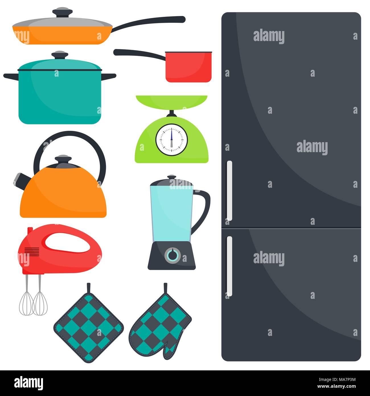 Kitchen utensils and appliances, set. Fridge, frying pan, saucepan ...