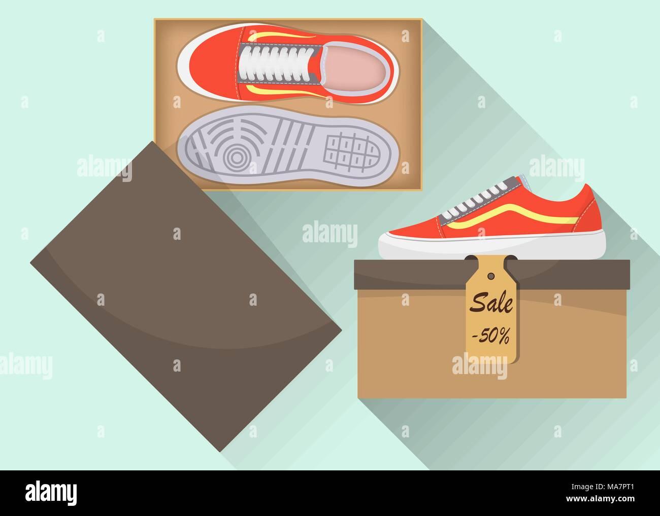 Stylish modern sneakers in box, side