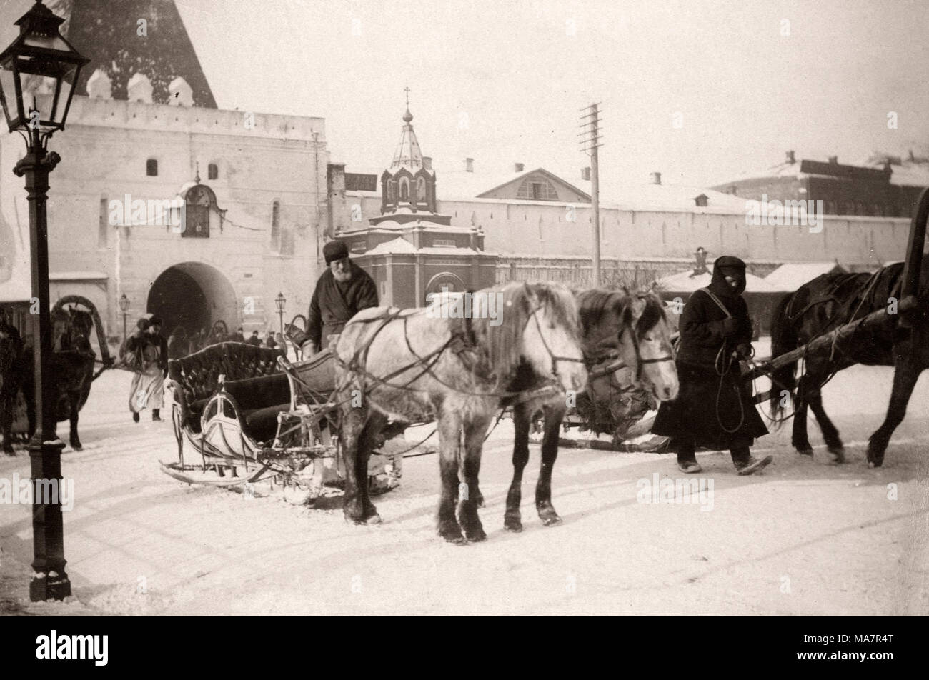19th century vintage photograph Russia - hackney cab, snow sleigh, pony. - Stock Image
