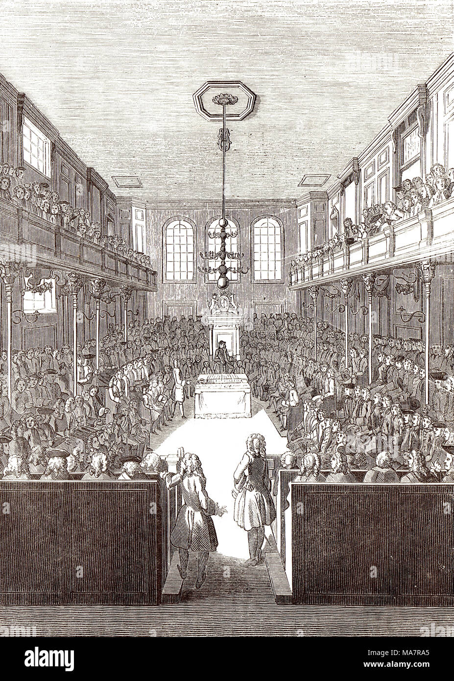 Interior of the Old House of commons at the time of George II - Stock Image