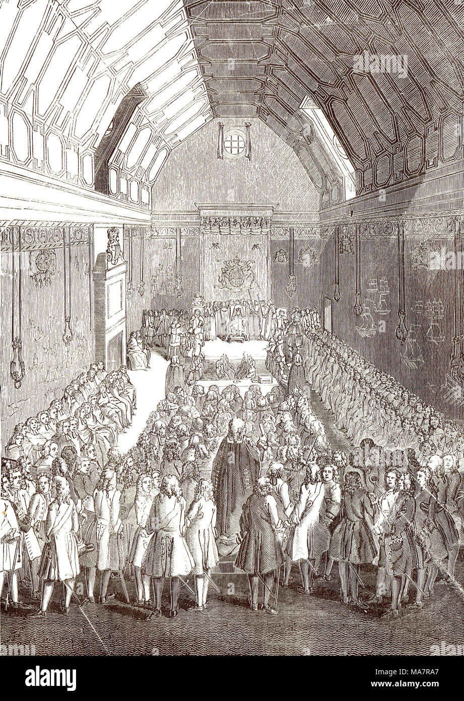 Interior of the Old House of lords at the time of George II - Stock Image