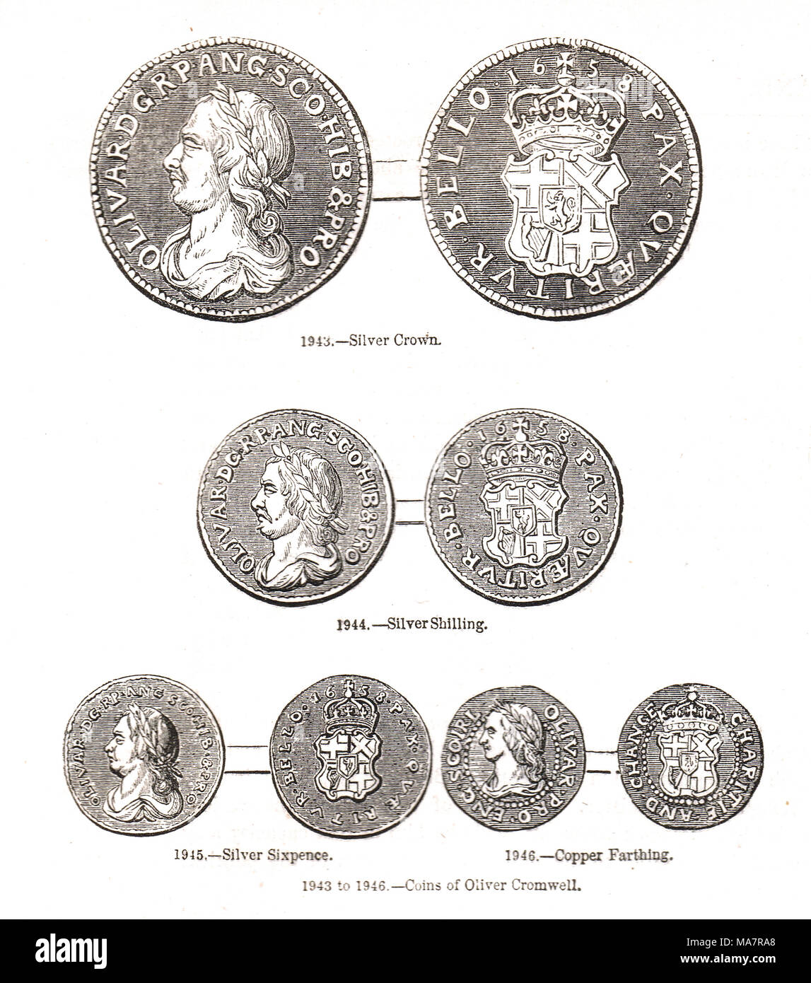 Coins of the time of Oliver Cromwell, currency of the Commonwealth of England, Scotland. and Ireland - Stock Image