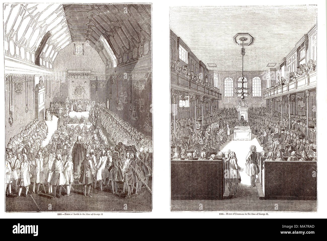 Interiors of the Old House of lords and commons at the time of George II - Stock Image